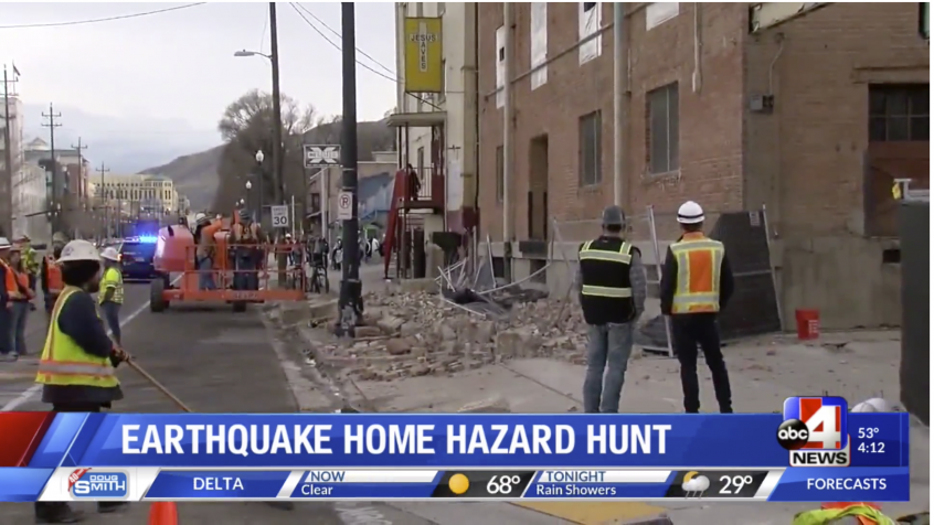 earthquake damage with the invitation to search your home for hazards that could fall over in an earthquake